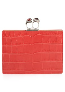 Alexander McQueen Croc Embossed Calfskin Leather Double Ring Clutch