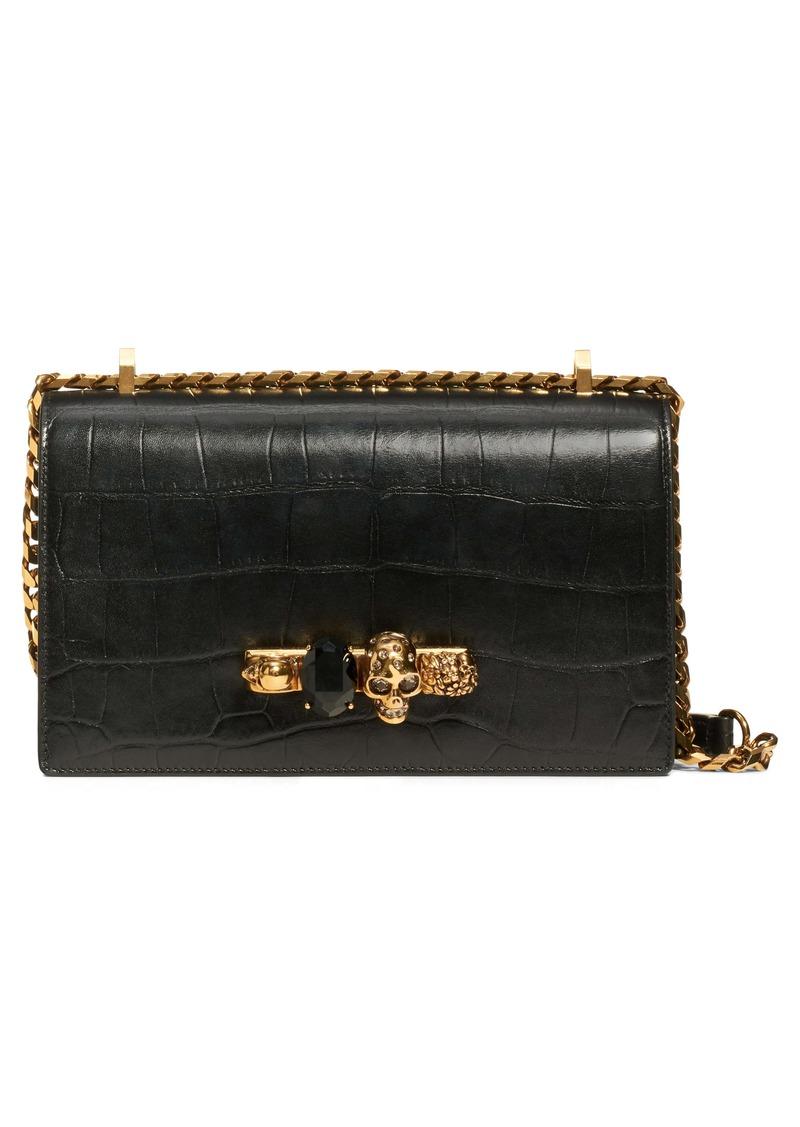 Alexander McQueen Croc-Embossed Knuckle Ring Leather Shoulder Bag