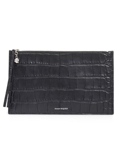 Alexander McQueen Croc Embossed Leather Pouch