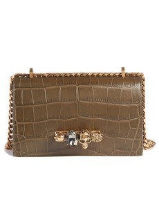 Alexander McQueen Croc Embossed Leather Shoulder Bag