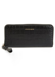 Alexander McQueen Croc-Embossed Leather Zip Around Wallet