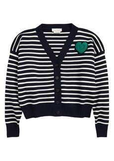 Alexander McQueen Crochet Heart Stripe Cardigan Sweater