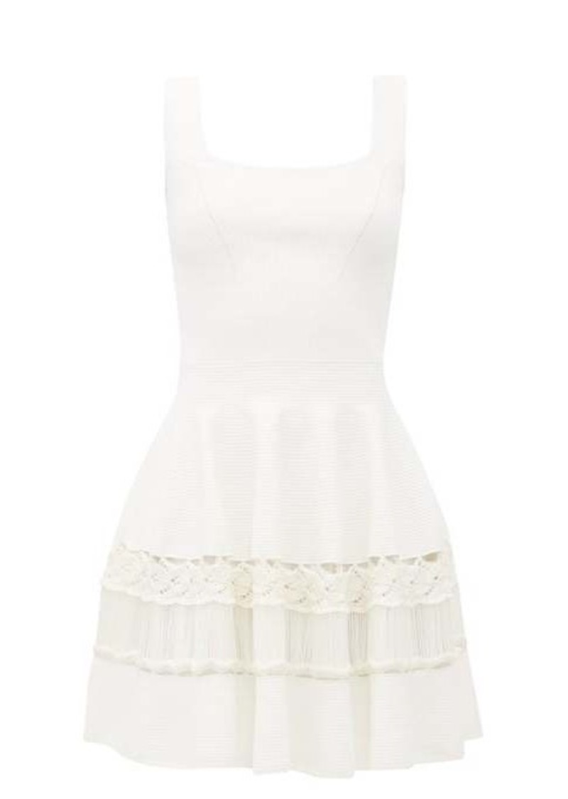 Alexander McQueen Crochet-panelled rib-knit mini dress