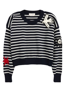 Alexander McQueen Crochet Patch Stripe Crewneck Sweater