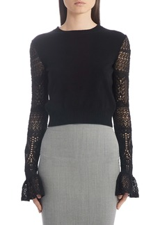 Alexander McQueen Crochet Sleeve Wool Sweater