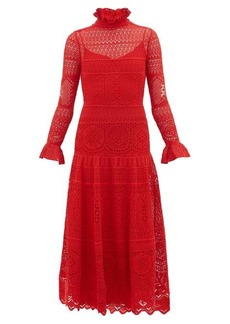 Alexander McQueen Crocheted lace panelled midi dress