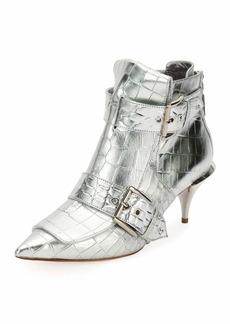 Alexander McQueen Crocodile-Embossed Metallic Bootie