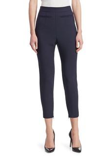 Alexander McQueen Cropped High-Waist Stretch Wool Pants