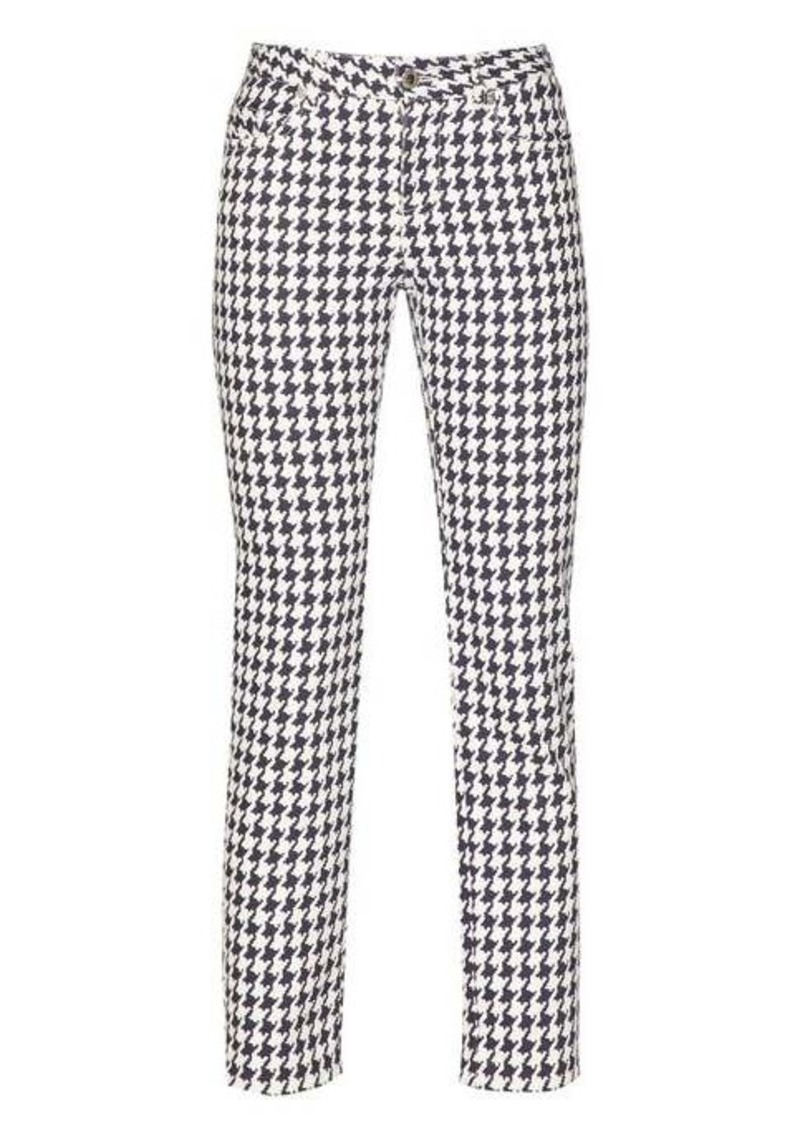 Alexander McQueen Cropped houndstooth-denim trousers