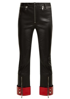 Alexander McQueen Cropped leather biker trousers