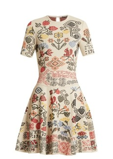 Alexander McQueen Cross-stitch intarsia A-line silk-blend dress