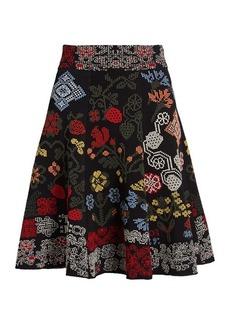 Alexander McQueen Cross-stitch intarsia A-line skirt