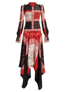Alexander McQueen Cross-stitch print silk dress