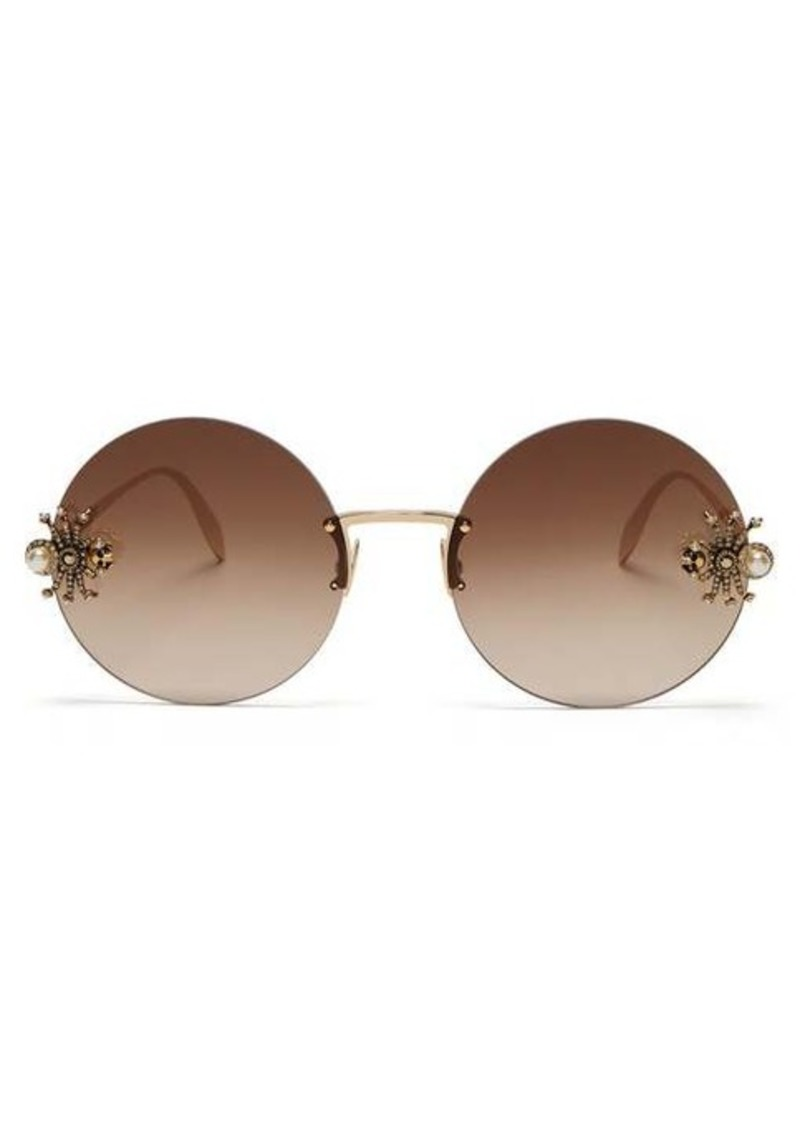 Alexander McQueen Crystal & faux-pearl spider round metal sunglasses