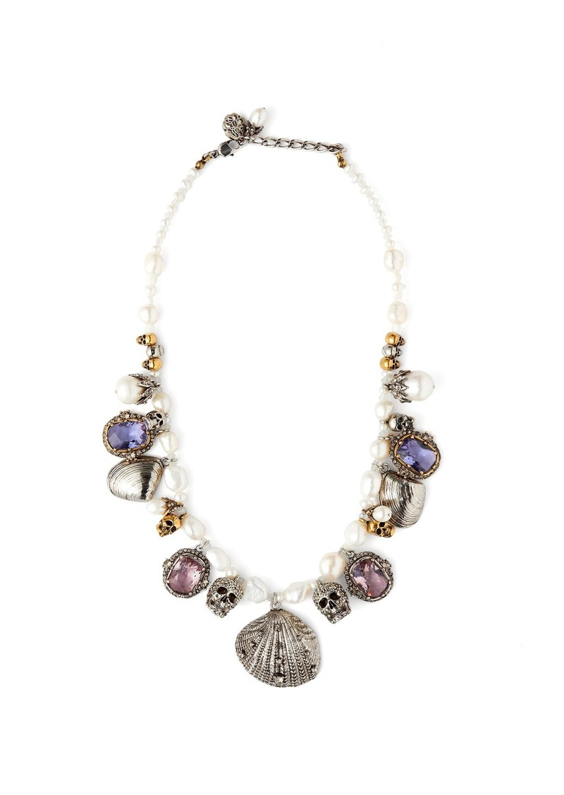 Alexander McQueen Crystal and charm-embellished pearl necklace