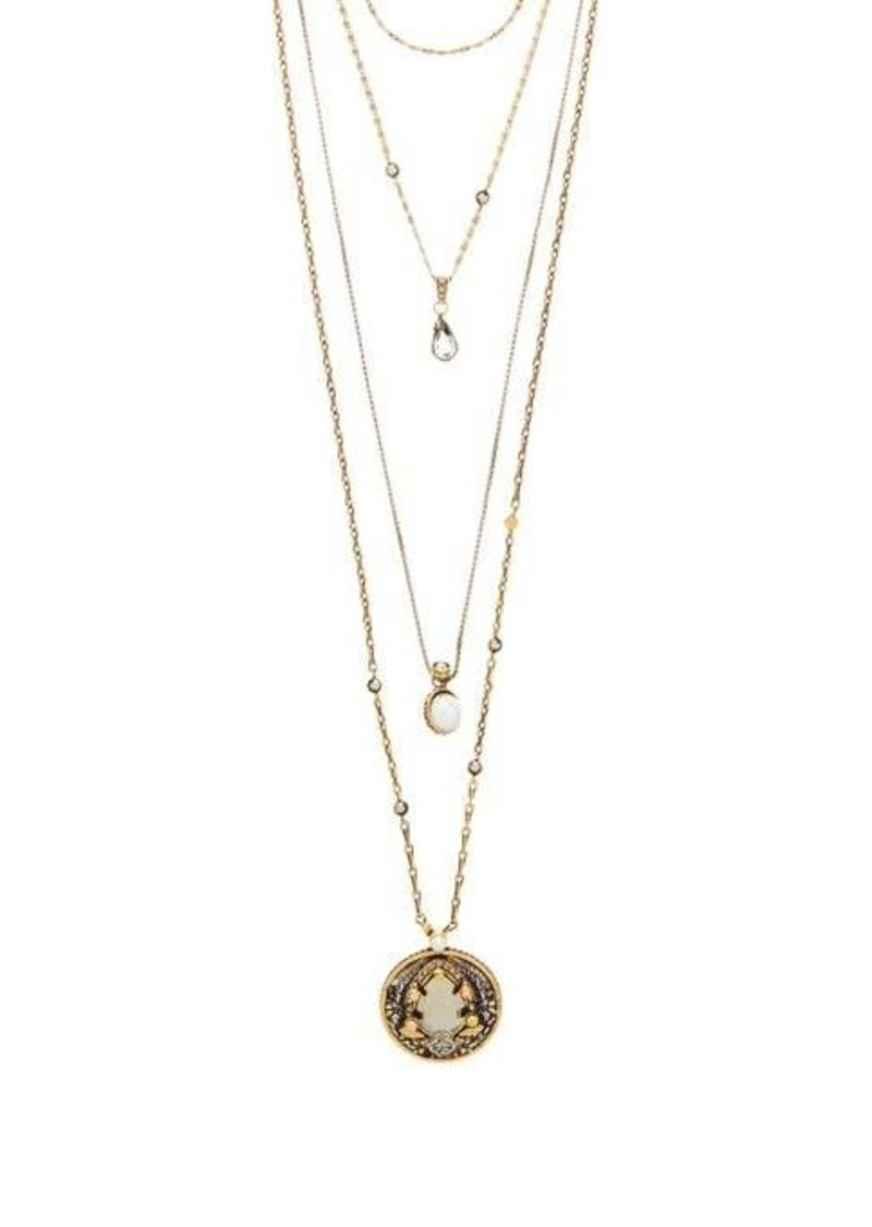 Alexander McQueen Crystal and faux-pearl chain necklace