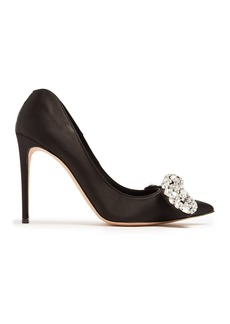Alexander McQueen Crystal-embellished bow heart-shaped heel pump