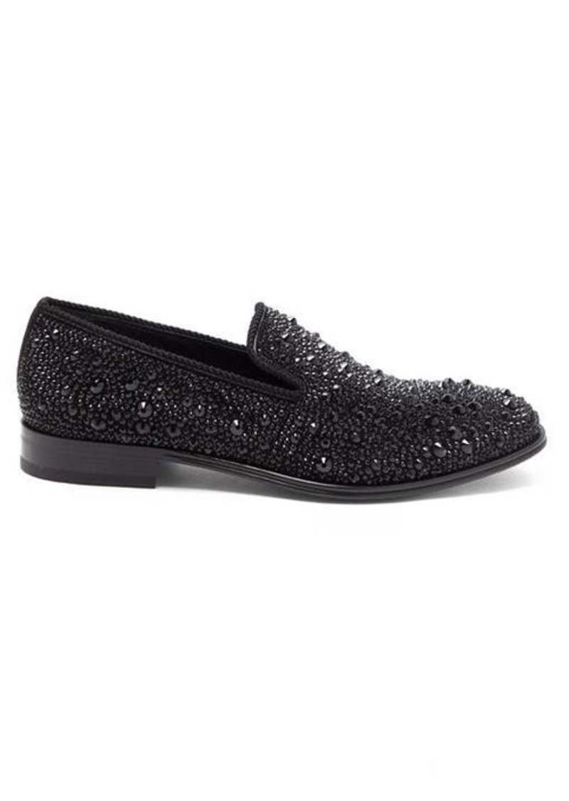 Alexander McQueen Crystal-embellished leather loafers