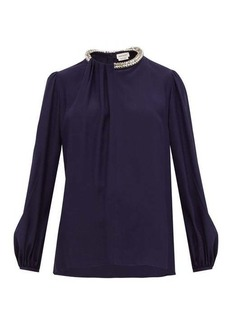 Alexander McQueen Crystal-embellished silk blouse