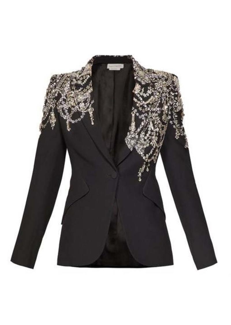 Alexander McQueen Crystal-embellished single-breasted crepe blazer