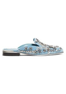 Alexander McQueen Crystal-embellished velvet backless loafers