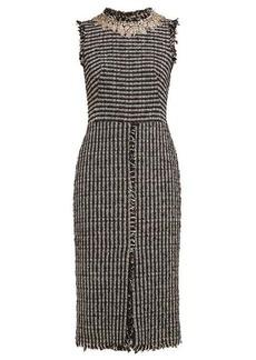 Alexander McQueen Crystal-embroidered cotton-blend tweed dress