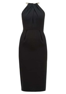 Alexander McQueen Crystal-rope halterneck crepe dress