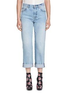 Alexander McQueen Cuffed Denim Boyfriend Jeans