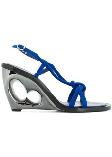 Alexander McQueen cut out block heel sandals - Blue