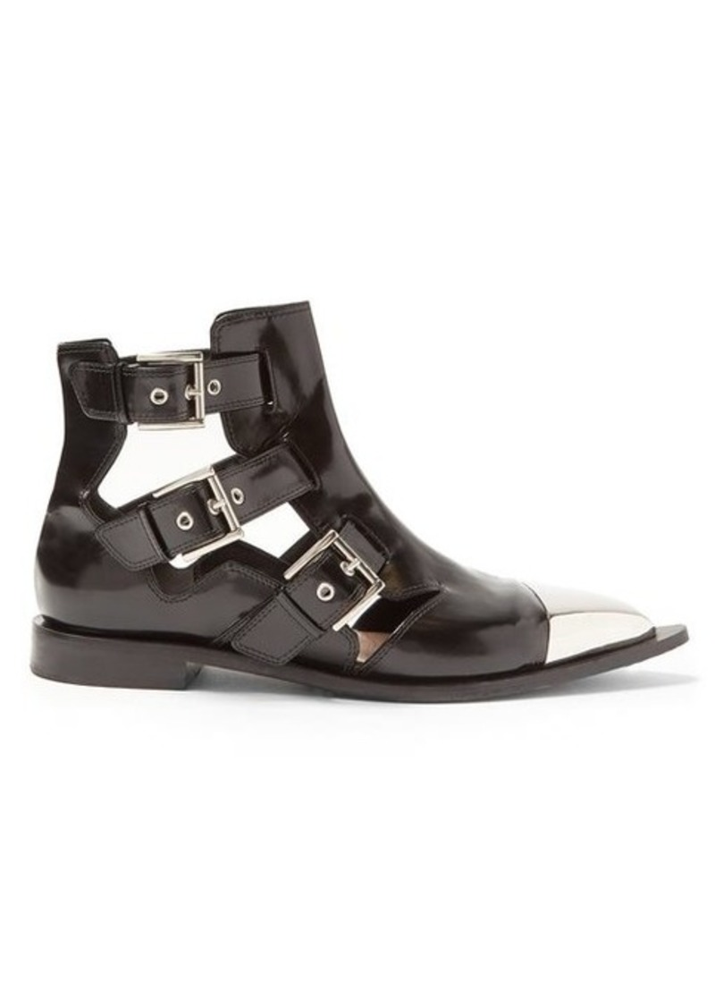 Alexander McQueen Cut-out leather ankle boots