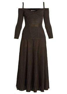 Alexander McQueen Cut-out shoulder wool-blend dress
