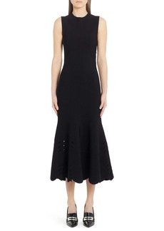 Alexander McQueen Cutout Scallop Hem Midi Sweater Dress