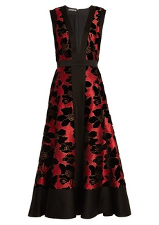 Alexander McQueen Deep V-neck flocked and jacquard dress