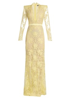Alexander McQueen Deep V-neck lace gown