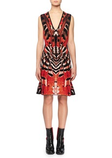 Alexander McQueen Deep-V Sleeveless Butterfly Jacquard Knit Dress