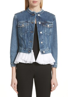 Alexander McQueen Denim Jacket with Detachable Ruffle Hem
