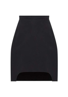 Alexander McQueen Dipped-hem pleated wool-blend twill skirt