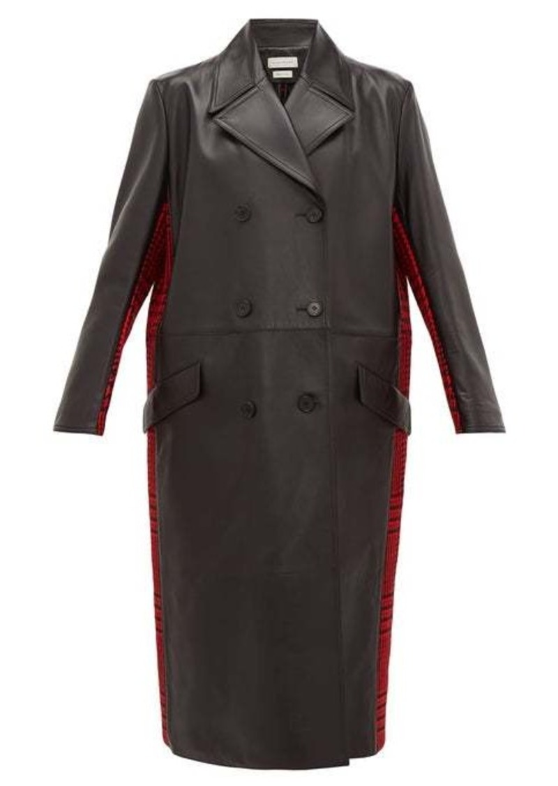 Alexander McQueen Double-breasted checked wool and leather coat