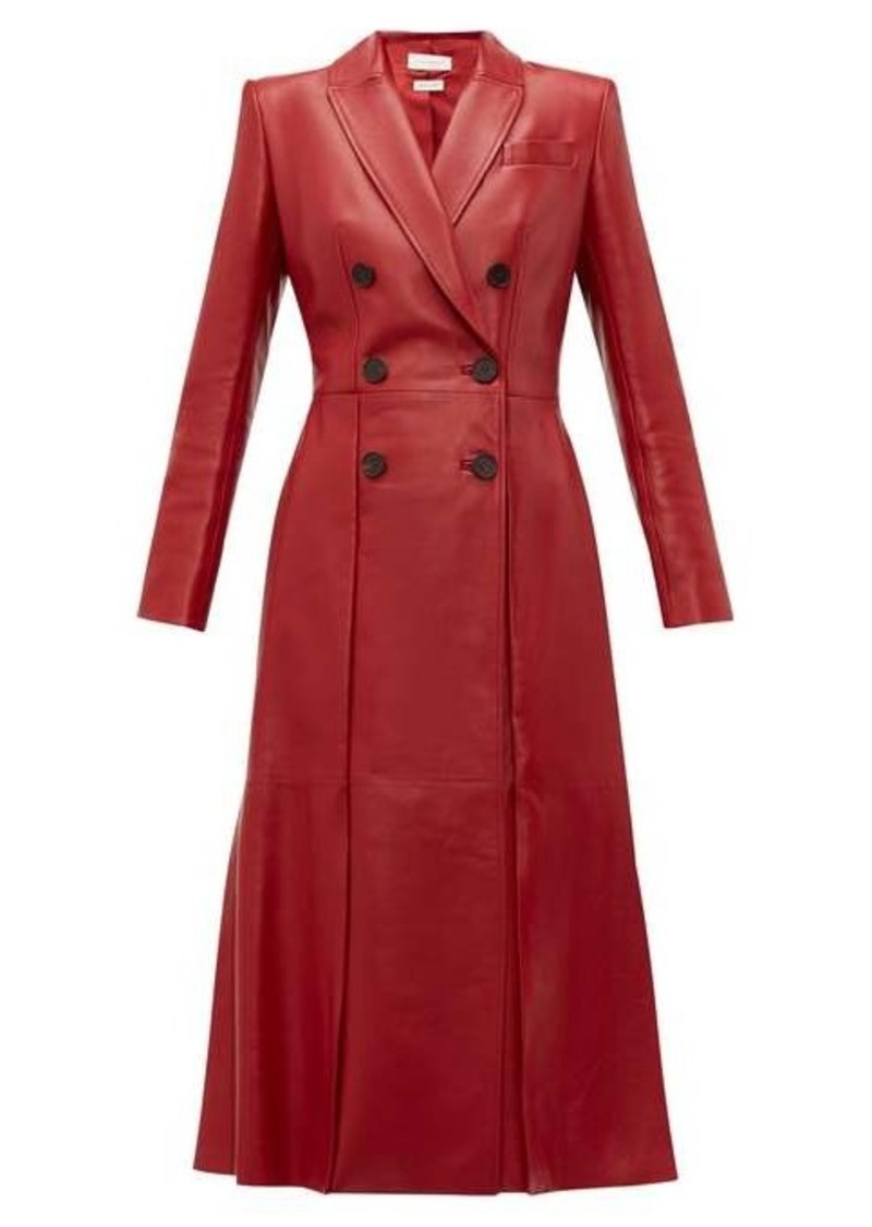 Alexander McQueen Double-breasted fluted-hem leather coat