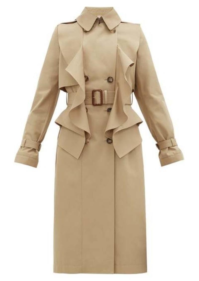 Alexander McQueen Double-breasted ruffled gabardine trench coat