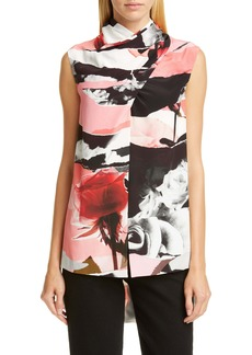 Alexander McQueen Drape Neck Torn Rose Print Silk Top