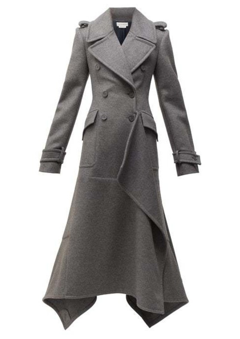 Alexander McQueen Draped double-breasted wool-blend coat