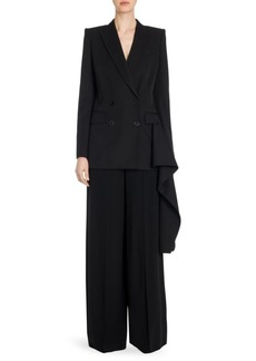 Alexander McQueen Draped Double-Breasted Wool Jacket