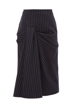 Alexander McQueen Draped pinstriped wool-twill skirt