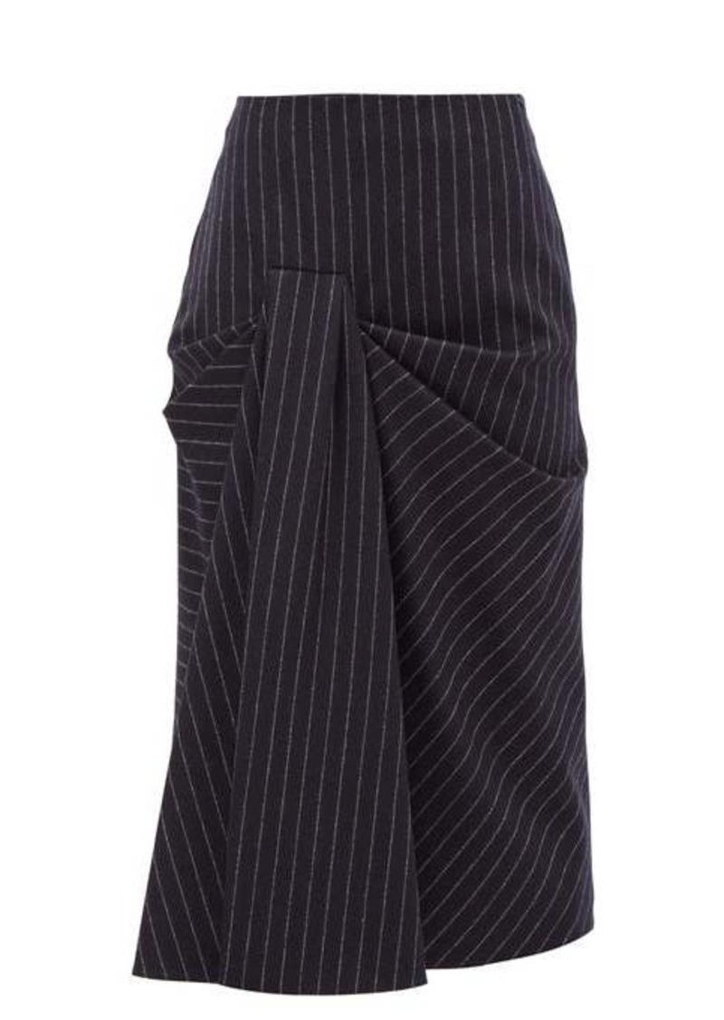 Alexander McQueen Draped pinstriped wool-twill skirt