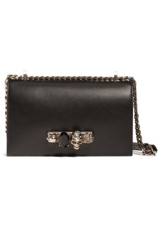 Alexander McQueen Embellished Knuckle Clasp Leather Box Satchel