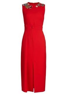 Alexander McQueen Embellished-neck sleeveless pencil dress