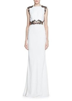 Alexander McQueen Embellished Open-Back Column Gown