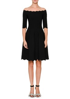 Alexander McQueen Embossed Rose Fit & Flare Dress