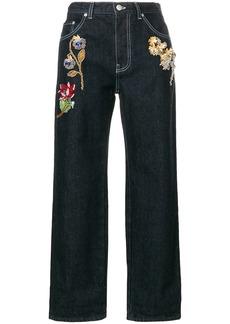 Alexander McQueen embroidered boyfriend jeans - Blue